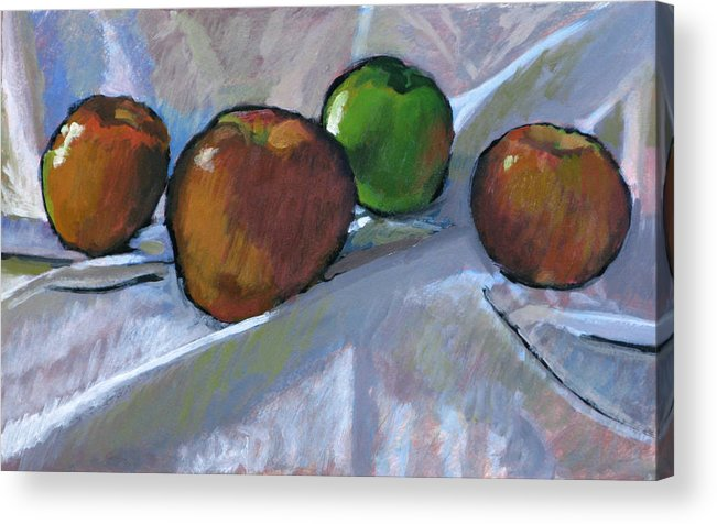 Apple Acrylic Print featuring the painting Apples On Cloth by Robert Bissett