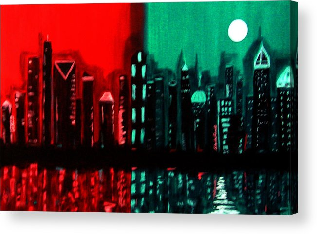 36 Inch Abstract Acrylic Nightscape Acrylic Print featuring the painting Atlanta by Linda Powell