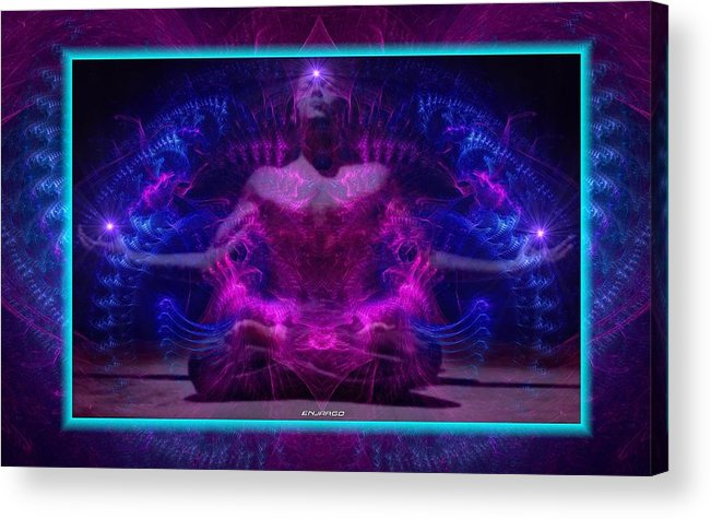 Meditation Acrylic Print featuring the mixed media Between Sun,moon And Stars. by Enjargo Art