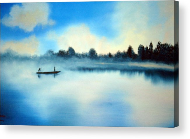 Blue Acrylic Print featuring the painting Blue Lagoon by SueEllen Cowan