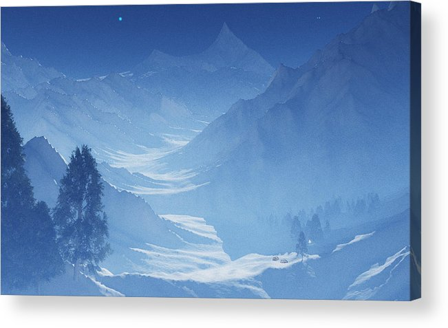 Mountain Acrylic Print featuring the digital art Blue Mountain Path by Margaret Wingstedt