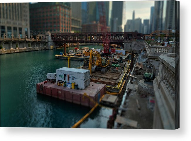 Chicago Acrylic Print featuring the photograph Chicago Riverwalk Construction II by Nisah Cheatham