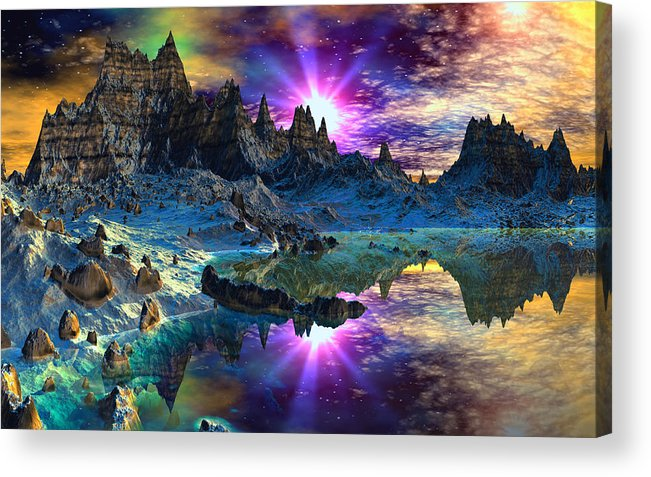 David Jackson Chosen Hills Sunrise Alien Landscape Planets Scifi Acrylic Print featuring the digital art Chosen Hills Sunrise by David Jackson