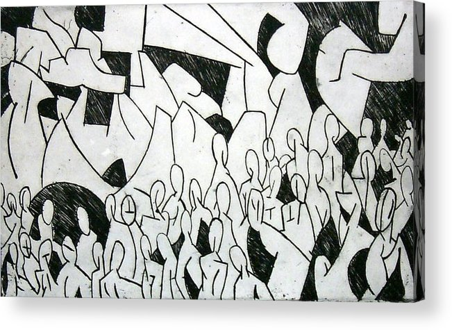 Etching Acrylic Print featuring the print Crowd by Thomas Valentine