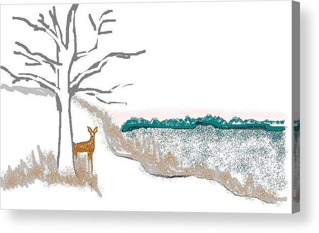 Deer Acrylic Print featuring the digital art Deer In Snow by Carole Boyd