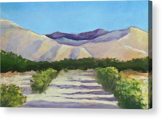Landscape Acrylic Print featuring the pastel Desert Road by Jo Thompson