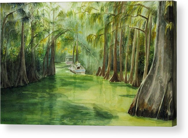 Passage Between Lakes Acrylic Print featuring the painting Dora Passage by Judy Swerlick