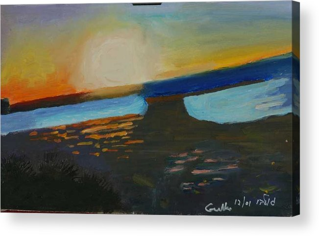 Seashore Acrylic Print featuring the painting Flaming Sunset  by Harris Gulko