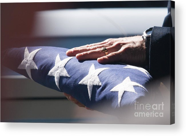 American Acrylic Print featuring the photograph Folded American Flag by Robert Gaines