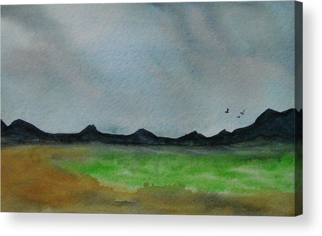 Landscape Acrylic Print featuring the painting Green Fields by Liz Vernand