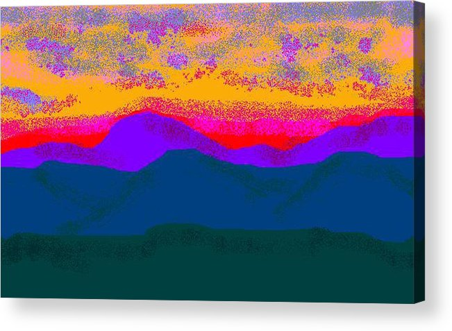 Landscape Acrylic Print featuring the digital art Hill Country Sunset by Carole Boyd