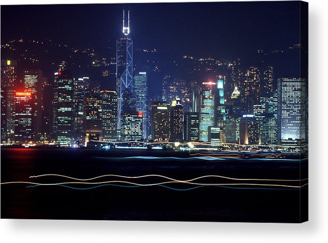 City Acrylic Print featuring the photograph Hong Kong Harbor by Brad Rickerby