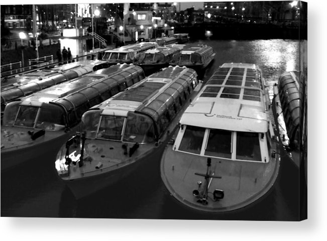Amsterdam Acrylic Print featuring the photograph Idle Tour Boats -- Amsterdam In Winter Bw by Mark Sellers