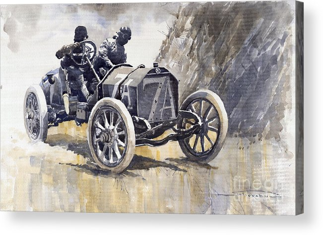 Watercolour Acrylic Print featuring the painting Isotta Fraschini 50hp 1908 Targa Florio by Yuriy Shevchuk