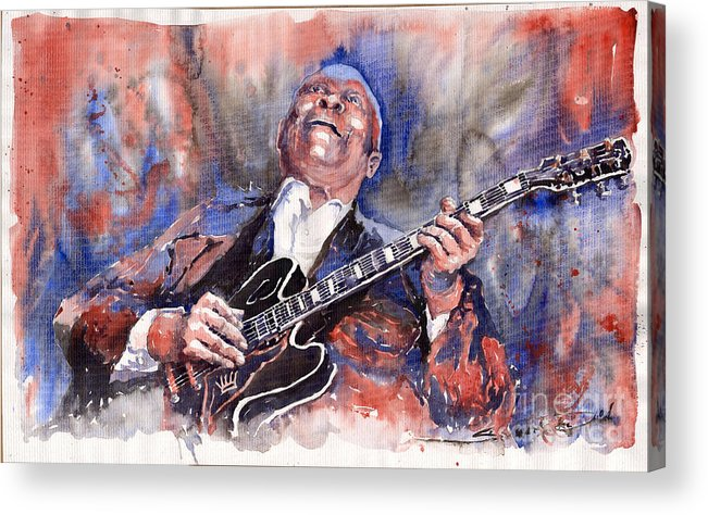 Jazz Acrylic Print featuring the painting Jazz B B King 05 Red A by Yuriy Shevchuk