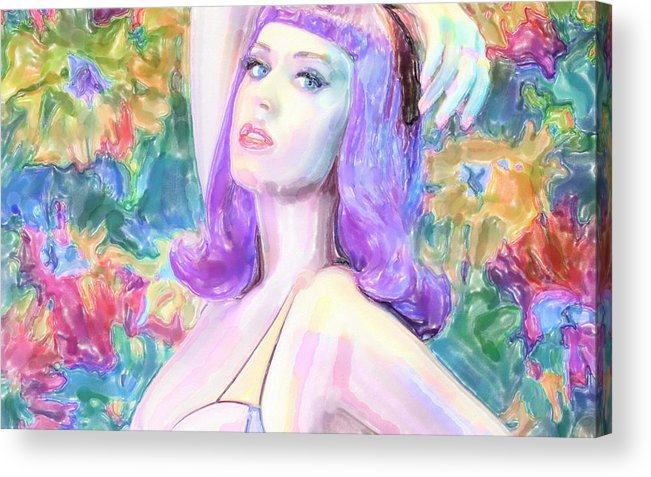 Watercolor Acrylic Print featuring the mixed media Katy Perry Watercolor, by Lyriel Lyra