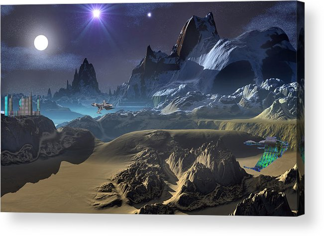 David Jackson Krill City Stardock Alien Landscape Planets Scifi Acrylic Print featuring the digital art Krill City Stardock. by David Jackson
