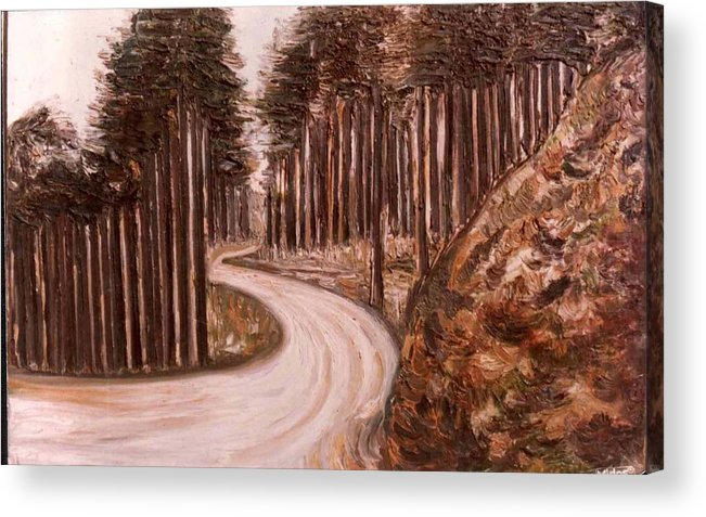 Paintings In Acrylics And Oils On --- Indian Saints Acrylic Print featuring the painting Lonely Curve by Anand Swaroop Manchiraju