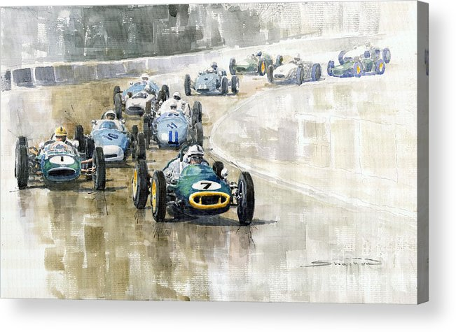 Automotive Acrylic Print featuring the painting 1961 Germany Gp #7 Lotus Climax Stirling Moss Winner by Yuriy Shevchuk
