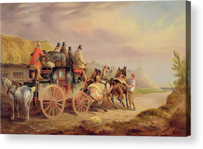 Mail Acrylic Print featuring the painting Mail Coaches On The Road - The 'quicksilver' by Charles Cooper Henderson