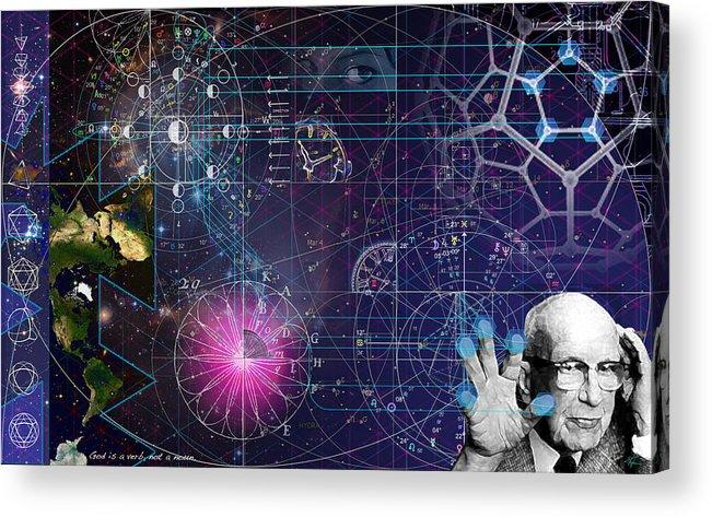 Buckminster Fuller Acrylic Print featuring the digital art Metaphysical Gravity by Kenneth Armand Johnson