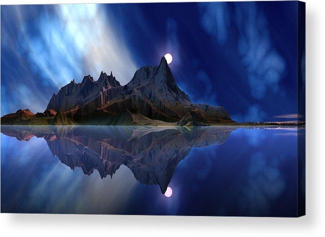 David Jackson Moonrise Accension Island. Alien Landscape Planets Scifi Acrylic Print featuring the digital art Moonrise Accension Island. by David Jackson