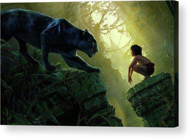 07b6d9719 Mowgli Bagheera Black Panther The Jungle Book Acrylic Print featuring the  digital art Mowgli Bagheera Black