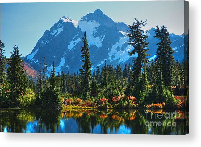 Mt. Shuksan Acrylic Print featuring the photograph Mt. Shuksan by Idaho Scenic Images Linda Lantzy