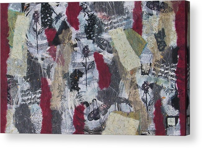 Collage Acrylic Print featuring the mixed media Music And Roses by Michele Caporaso