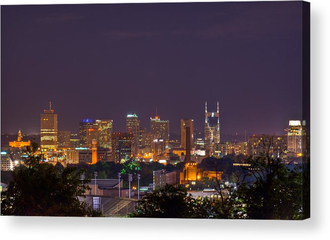 Nashville Acrylic Print featuring the photograph Nashville By Night 3 by Douglas Barnett