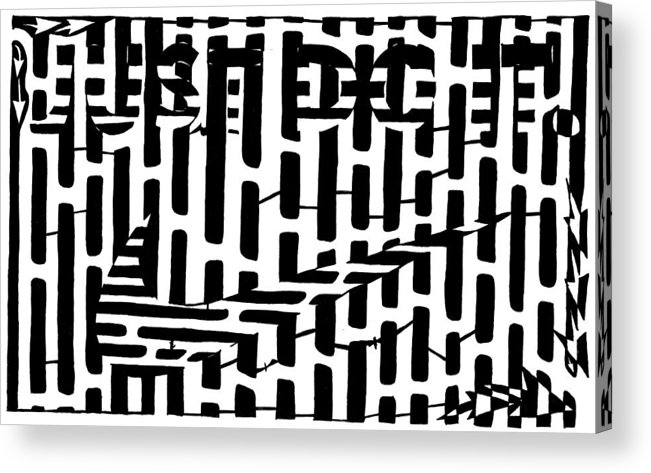 Just Do It Acrylic Print featuring the drawing Nike Maze by Yonatan Frimer Maze Artist