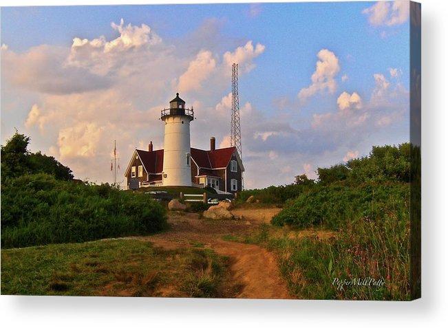 Lighthouse Acrylic Print featuring the digital art Nobska Lighthouse by PepperMillPatty Photography
