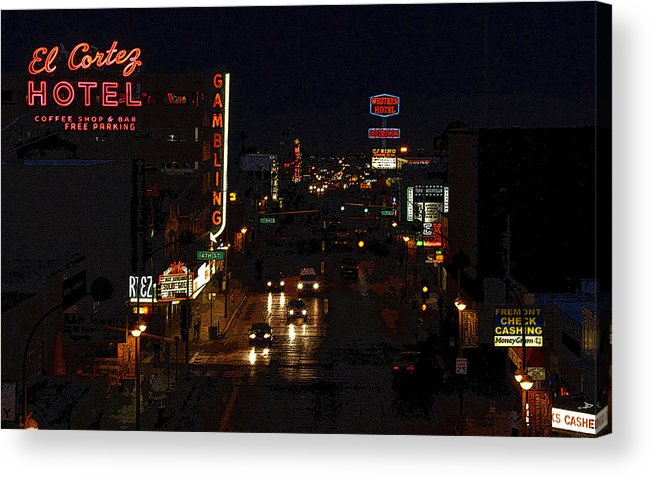 Art Acrylic Print featuring the painting Old Vegas by David Lee Thompson