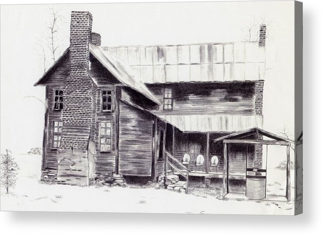 Landscape Acrylic Print featuring the drawing Old Willard Home by Penny Everhart