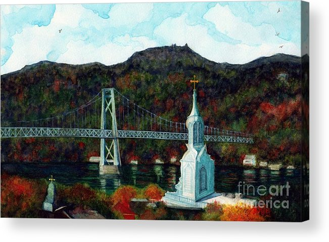 Bridge Acrylic Print featuring the painting Our Lady Of Mt Carmel Church Steeple - Poughkeepsie Ny by Janine Riley