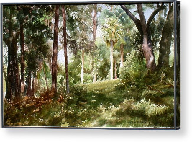 Nature Acrylic Print featuring the painting Path In The Woods by Marion Hylton