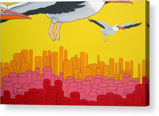 Birds Acrylic Print featuring the painting Pelicans by Patricia Van Lubeck