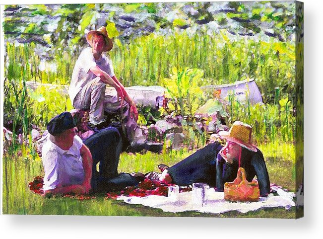 Lake Acrylic Print featuring the painting Picnic By The Lake by Randy Sprout