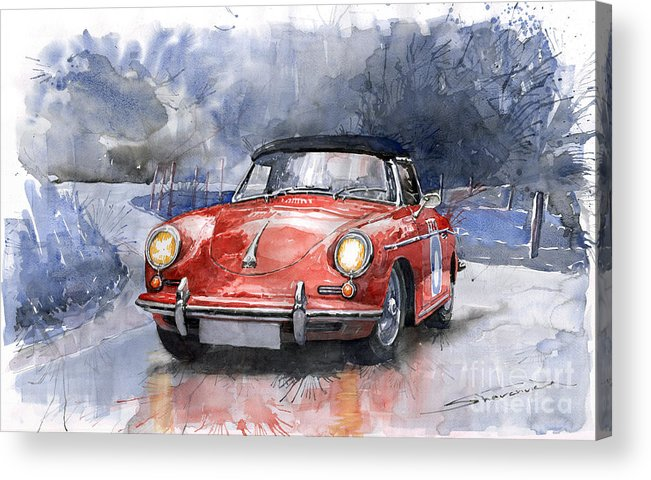 Auto Acrylic Print featuring the painting Porsche 356 B Roadster by Yuriy Shevchuk