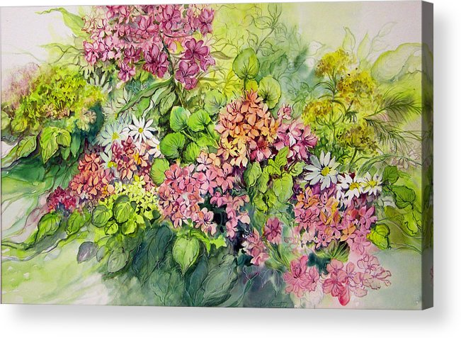 Flowers;floral;watercolor Floral;contemporary Floral;daisies; Acrylic Print featuring the painting Profusion Of Colors by Lois Mountz