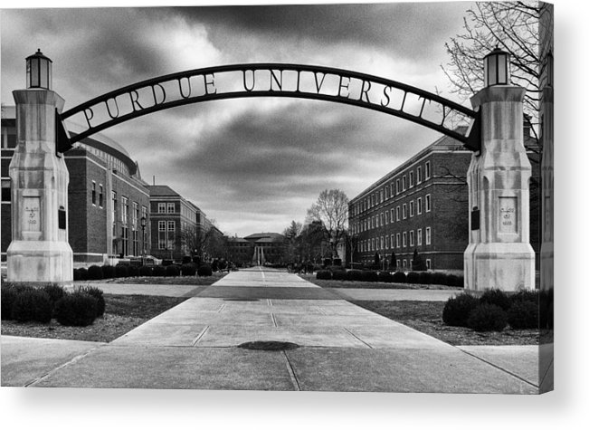 Purdue Acrylic Print featuring the photograph Purdue Entrance Sign by Coby Cooper
