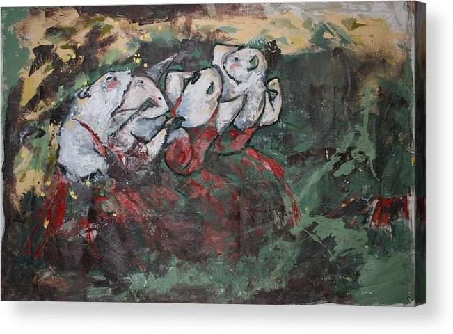 Rat Acrylic Print featuring the painting Rat Dancers by Danielle Wilbert