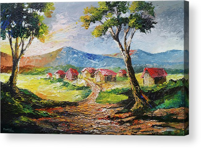 House Acrylic Print featuring the painting Red Roofs by Anthony Mwangi