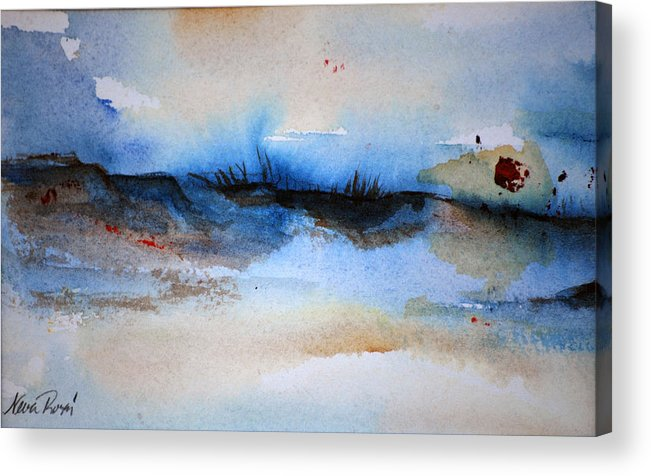 Beach Acrylic Print featuring the painting Red Sun Beach by Neva Rossi