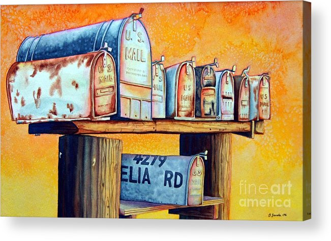 Mailboxes Acrylic Print featuring the painting Rural Route by Gail Zavala