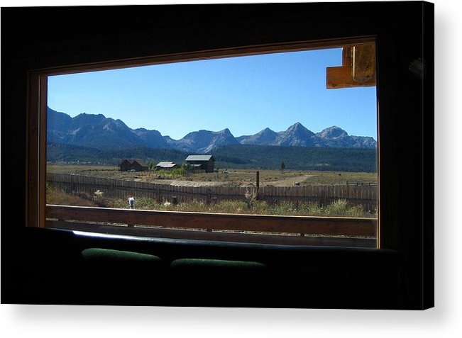 Mountains Acrylic Print featuring the photograph Sawtooth Mountains From Cafe Window by Sherry Oliver