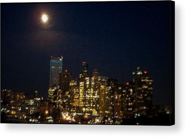 City Acrylic Print featuring the mixed media Seattle At Night by James Johnstone