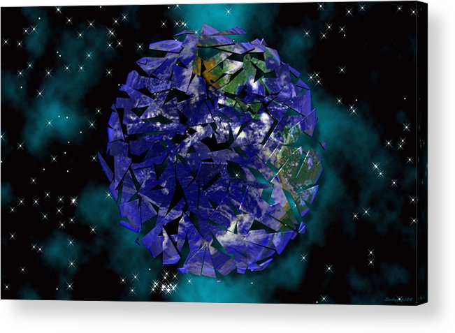 Earth Acrylic Print featuring the digital art Shattered World by Evelyn Patrick