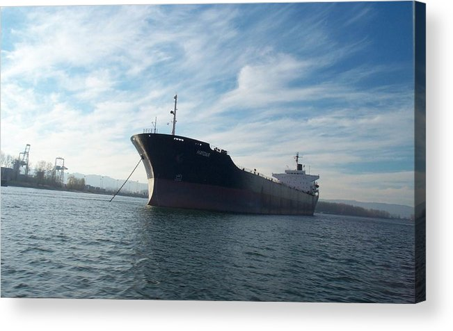 Ship Acrylic Print featuring the photograph Ship At Anchor In The Columbia River by Alan Espasandin