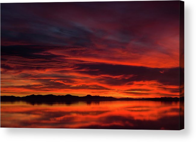 Antelope Island Acrylic Print featuring the photograph Sky On Fire by Adam Colick